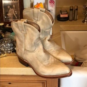 Frye Billy Leather Boots cream / Off White sz